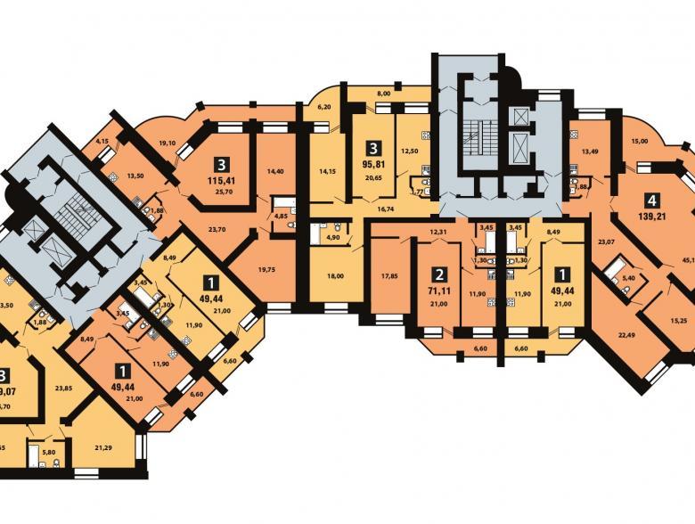 Планировка 11-го этажа - ул. Копылова, д. 19
