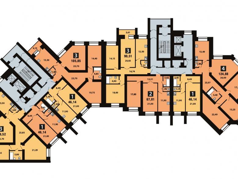 Планировка 4-го этажа - ул. Копылова, д. 19