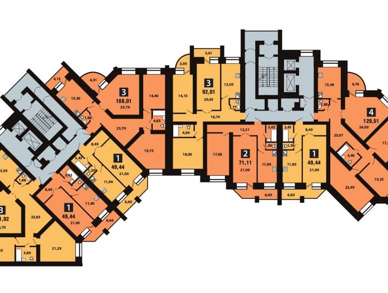 Планировка 5-го этажа - ул. Копылова, д. 19
