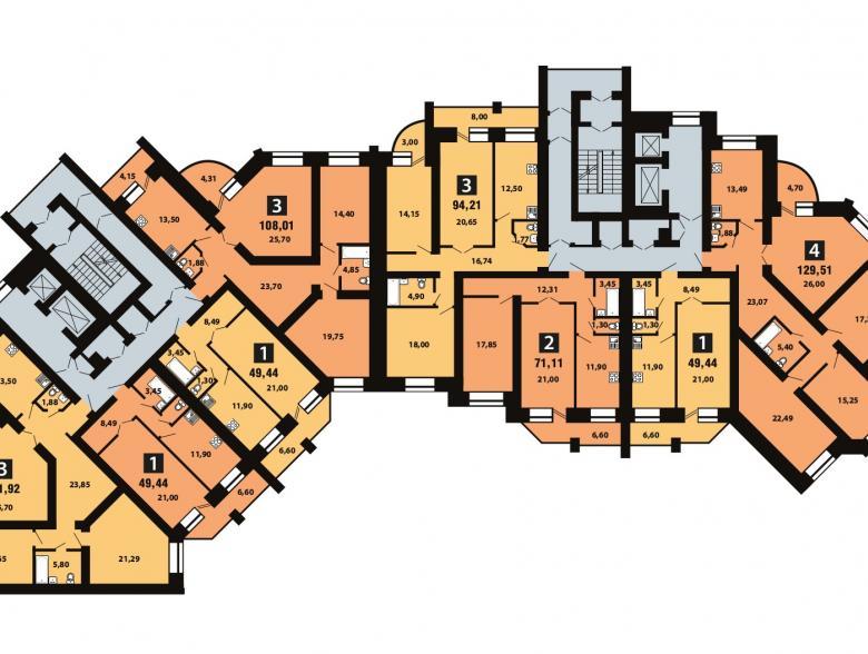 Планировка 7-го этажа - ул. Копылова, д. 19